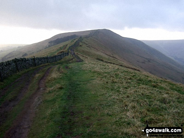 Lord's Seat (Rushup Edge) from Rushup Edge. Walk route map d158 Sparrowpit and Mam Tor from Castleton photo