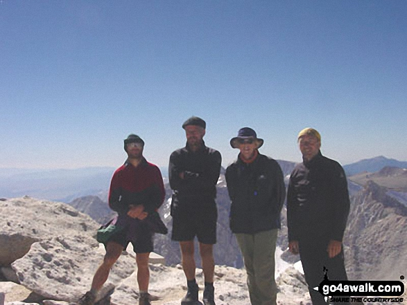 Myself, husband John with friends Garry on Mount Whitney walk The High Sierras California USA walks