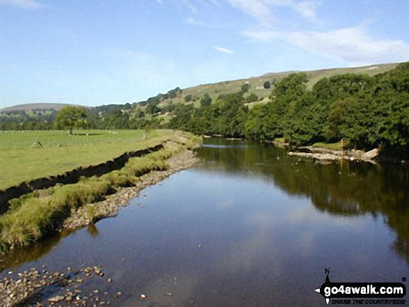 The River Swale near Reeth. Walk route map ny157 High Harker Hill and Greets Hill from Reeth photo