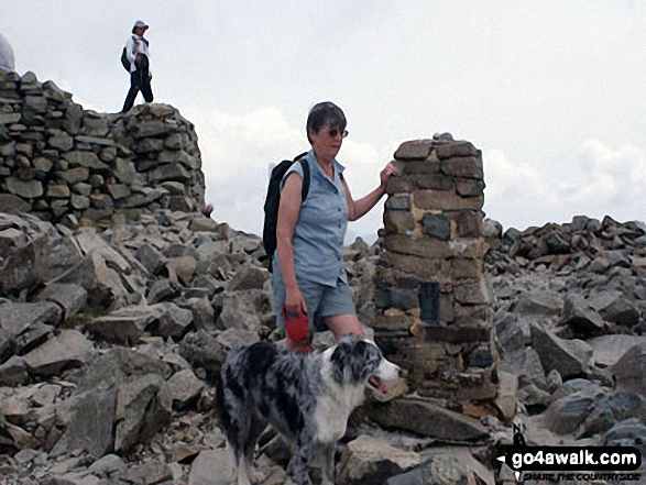 On the top of Scafell Pike with Mac the Dog. Walk route map c370 Scafell Pike from Seathwaite photo