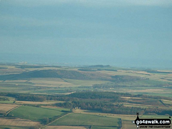 Bamburgh and The Farnes from Cold Law. Walk route map n111 The Cheviot and Cold Law from Harthope Burn Valley photo