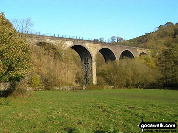 Monsal Head Viaduct. Walk route map d202 The Monsal Trail, Water-cum-Jolly Dale and Monsal Head from Miller's Dale Station photo