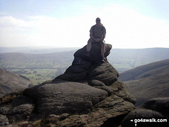 On Grindsbrook overlooking the Great Ridge. Walk route map d296 Jacob's Ladder and Kinder Scout from Edale photo