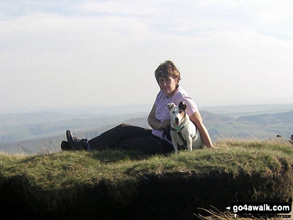 My wife and Billy the dog on Grindslow Knoll (Kinder Scout)