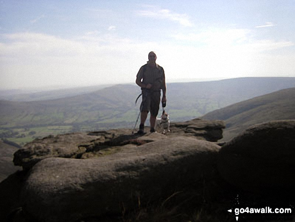 My man and his dog on Grindslow Knoll (Kinder Scout). Walk route map d296 Jacob's Ladder and Kinder Scout from Edale photo