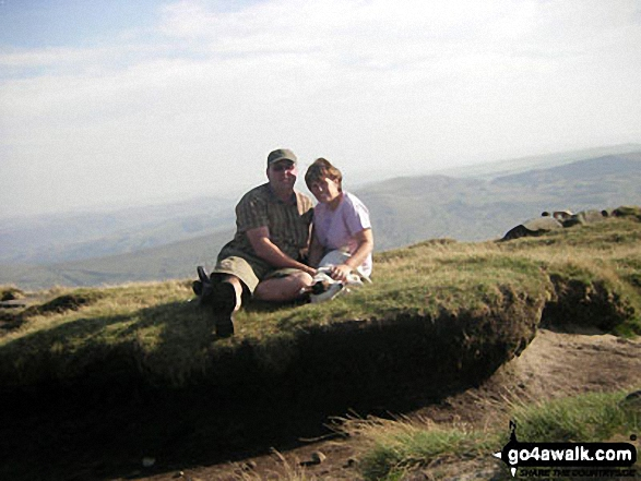 Me and my wife on Grindslow Knoll (Kinder Scout). Walk route map d296 Jacob's Ladder and Kinder Scout from Edale photo