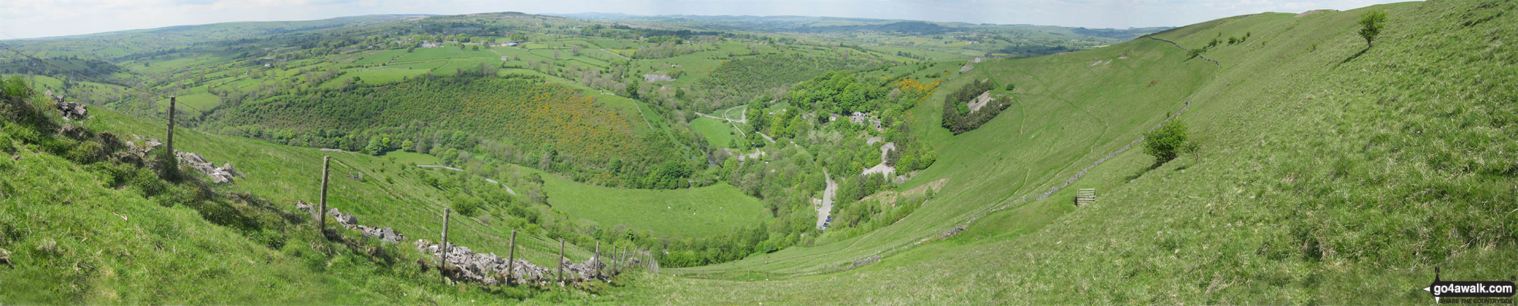 Panoramic view of The Manifold Valley and the Manifold Way from Ecton Hill