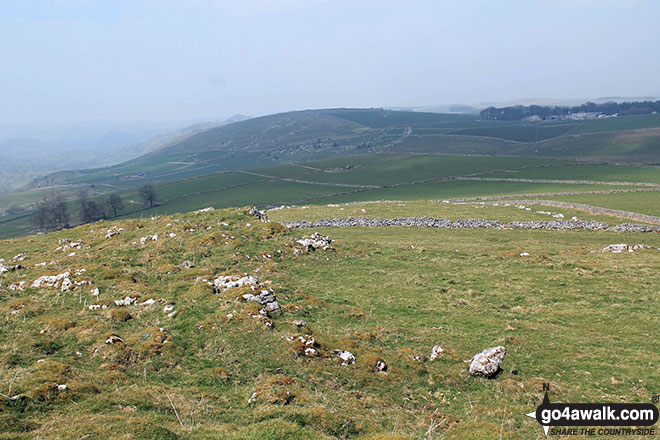 Looking north-west towards Pilsbury Castle Hills from the summit of Carder Low