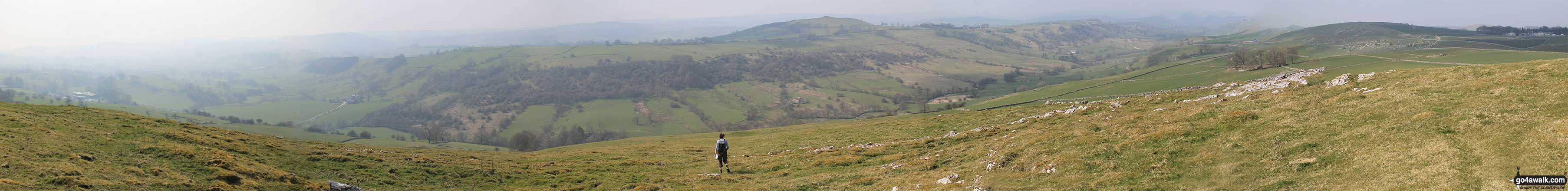 Panorama of the Upper Dove Dale valley from the summit of Carder Low
