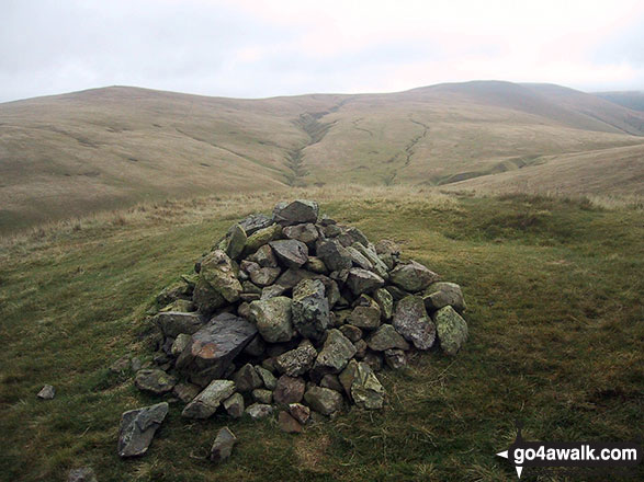 Looking back to Great Sca Fell from the summit cairn on Longlands Fell