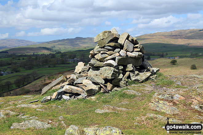 The large cairn on the summit of Reston Scar