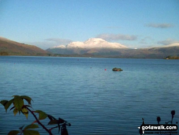 A snow covered Ben Lomond and Ptarmigan across Loch Lomond from the A82 south of Inverbeg