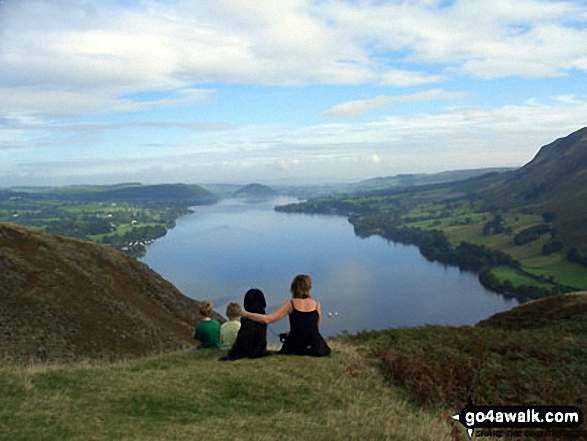 Ullswater from summit of Hallin Fell. Walk route map c304 Beda Head and Place Fell from Howtown photo