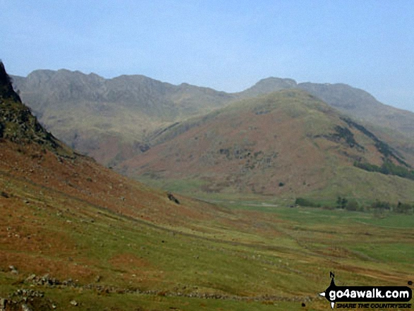 Crinkle Crags, Bow Fell (Bowfell) and The Band from Redacre Gill