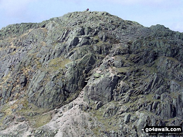 Crinkle Crags (Long Top) with the infamous 'Bad Step' (just below centre) from Crinkle Crags (South Top)