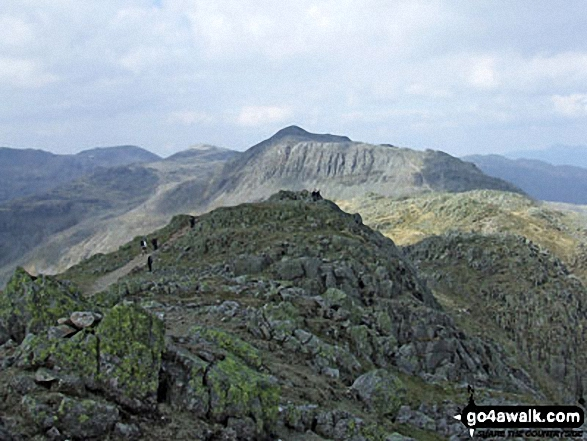 Bow Fell (Bowfell) and Shelter Crags from Crinkle Crags (Gunson Knott)