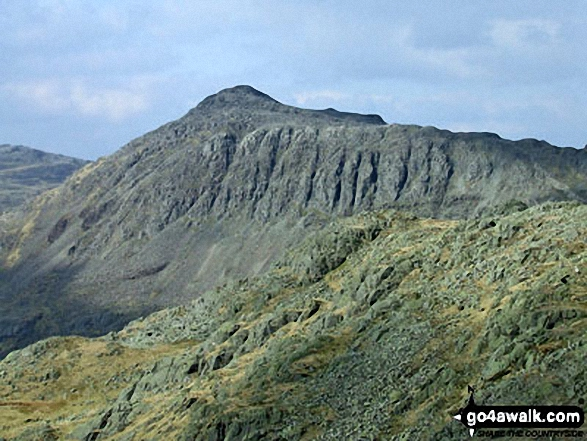 Walk c108 Crinkle Crags from The Old Dungeon Ghyll, Great Langdale - Bow Fell (Bowfell) from Shelter Crags