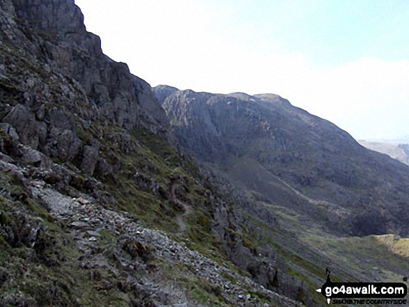 Cambridge Crag and Bowfell Buttress from The Climbers' Traverse below Bow Fell (Bowfell)