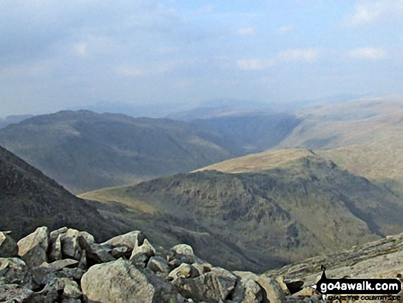 Rossett Pike and Black Crags from the top of Great Slab below Bow Fell (Bowfell)