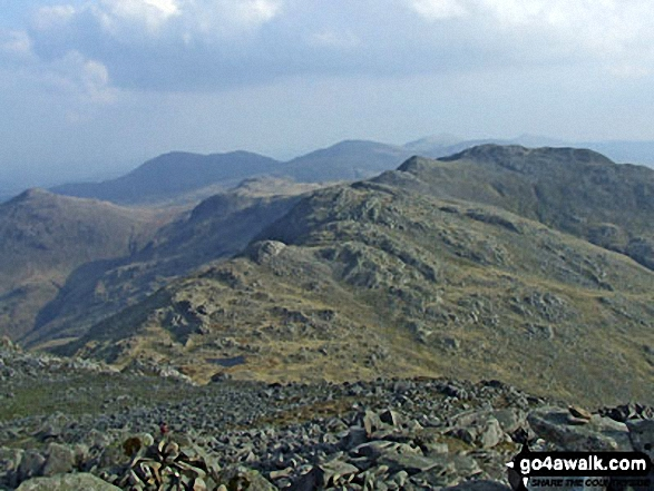 Shelter Crags, Gunson Knott and Crinkle Crags from Bow Fell (Bowfell)