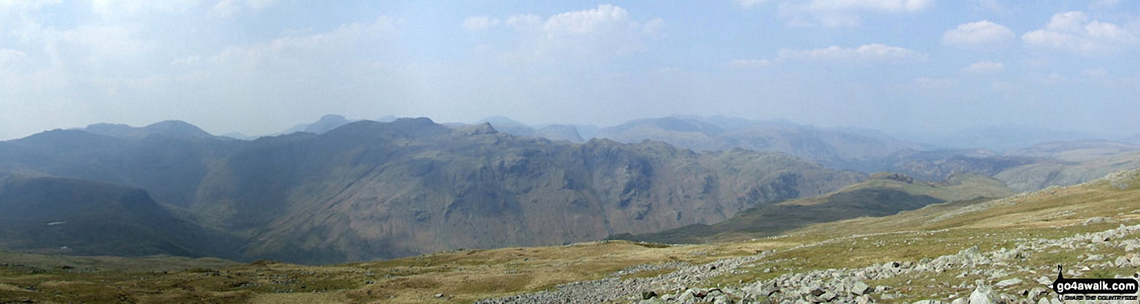 *Scafell Pike (far left back) and The Borrowdale Fells featuring Allen Crags, High House Tarn Top, Red Beck Top, Looking Stead, Glaramara, Comb Head, Comb Door Top, Dovenest Top and Rosthwaite Fell (Bessyboot) from High Raise (Langdale)