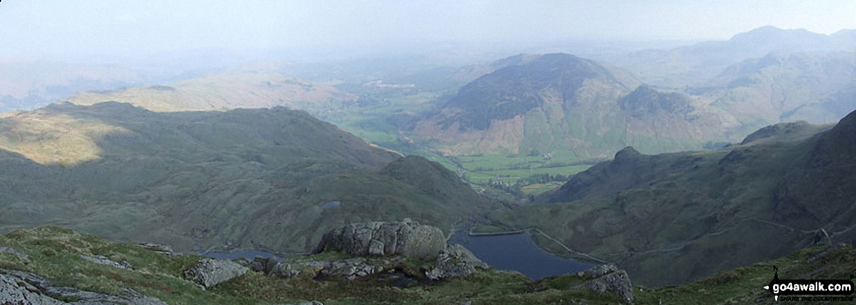 Stickle Tarn with Great Langdale and Lingmoor beyond from Pavey Ark Summit (Langdale Pikes)