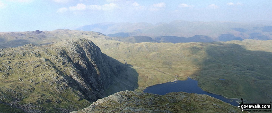 *Pavey Ark and Stickle Tarn with the Blea Ridge beyond from Harrison Stickle Summit (Langdale Pikes)