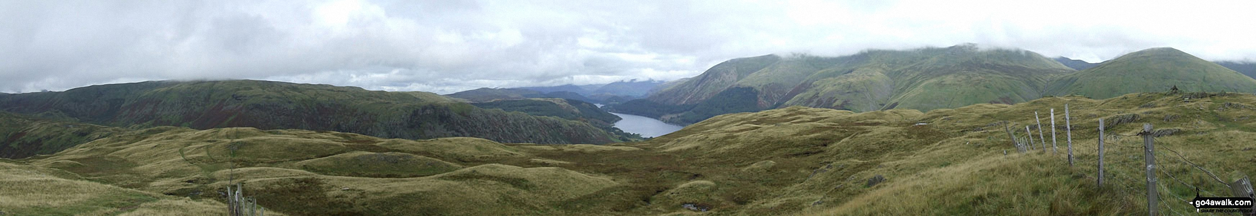 The Wythburn Fells (left) Thirlmere, Helvellyn (in mist) and Seat Sandal (right) from Steel Fell (Dead Pike)