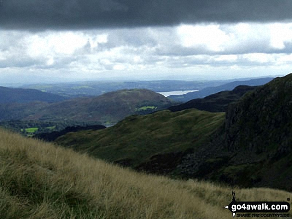 Loughrigg Fell with Windermere beyond from between Steel Fell (Dead Pike) and Calf Crag