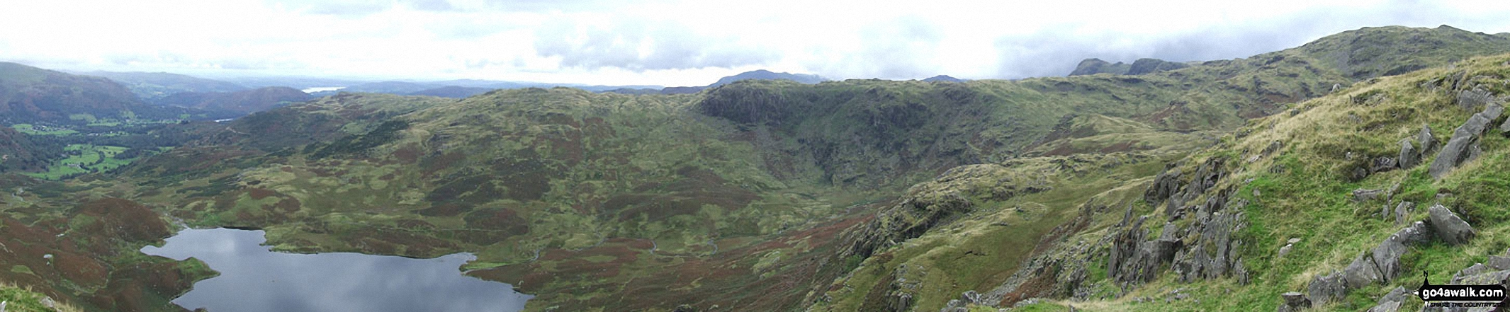 Grasmere, Easedale Tarn and Blea Rigg from Tarn Crag summit