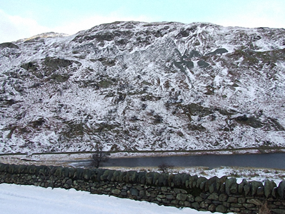 Dudderwick and Rough Crag (Riggindale) from Mardale Head car park in the snow