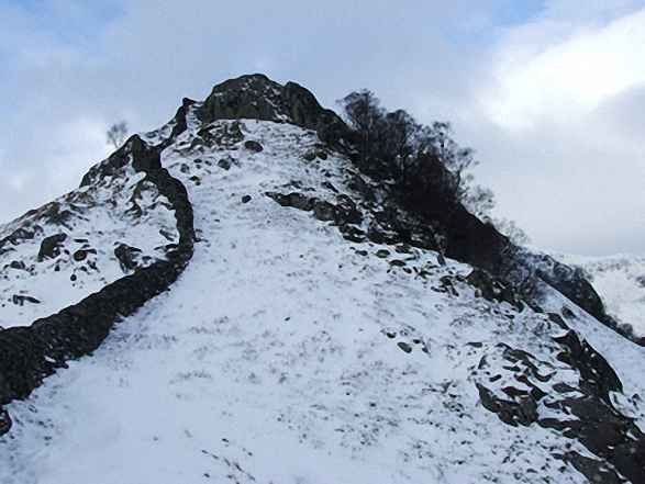 Steep ascent to Swine Crag in the snow