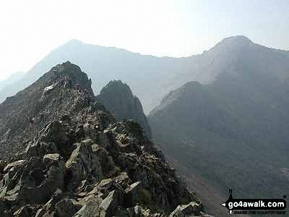 Walk Crib Goch walking UK Mountains in The Snowdon Area Snowdonia National Park Gwynedd    Wales