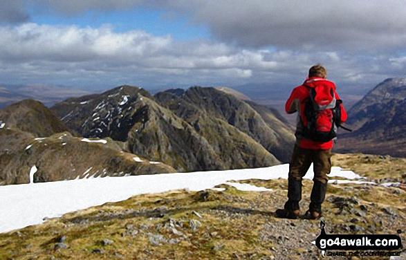 Simon Hoyle on Sgorr nam Fiannaidh (Aonach Eagach) looking along the Aonach Eagach ridge