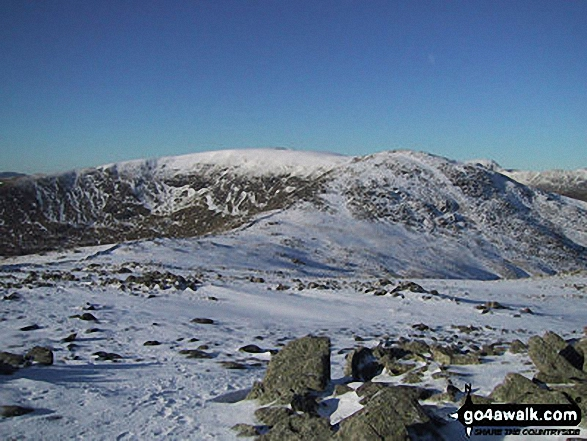 Snow on Fairfield and Hart Crag from Dove Crag. Walk route map c247 The Fairfield Horseshoe from Ambleside photo