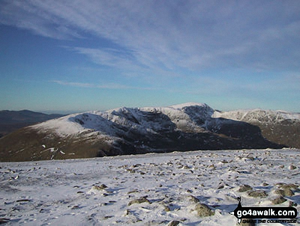 Snow on Helvellyn from Fairfield. Walk route map c230 The Scandale Beck Horizon from Ambleside photo