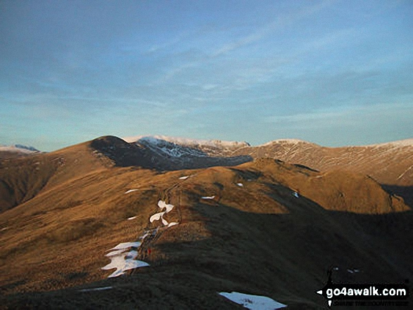 Fairfield from Heron Pike. Walk route map c389 Great Rigg, Fairfield and Hart Crag from Ambleside photo