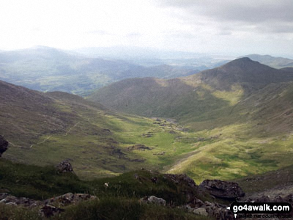 Cwm Llan and Yr Aran (right - in shadow) from Bwlch y Saethau on the upper slopes of Snowdon (Yr Wyddfa). Walk route map gw117 Snowdon and Yr Aran via The Watkin Path from Nantgwynant photo