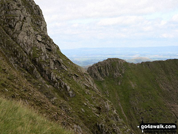Striding Edge from Swallow Scarth, between Helvellyn and Nethermost Pike. Walk route map c220 Helvellyn via Striding Edge from Glenridding photo