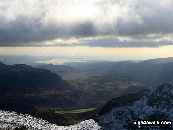 Morecambe Bay from the summit of Scafell Pike. Walk route map c370 Scafell Pike from Seathwaite photo