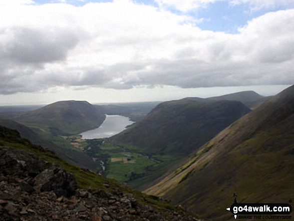 Wast Water from Great Gable. Walk route map c442 Great Gable and Green Gable from Honister Hause photo