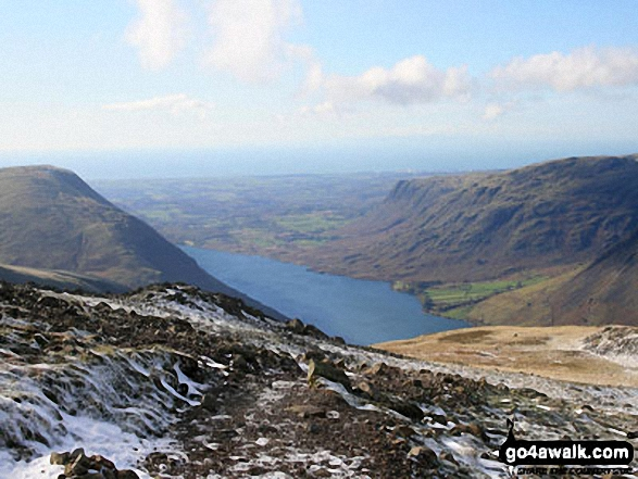Illgill Head (left), Wast Water and Middle Fell (right) from Scafell Pike. Walk route map c215 Scafell Pike from Seathwaite photo