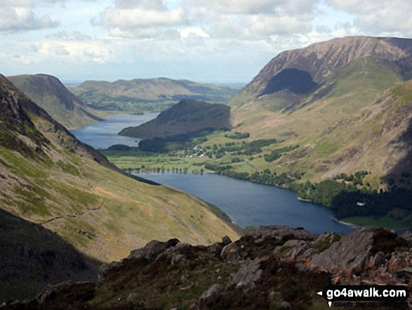 Walk c287 The High Stile Ridge and Hay Stacks from Buttermere - Crummock Water and Grasmoor with Buttermere in the foreground from Hay Stacks