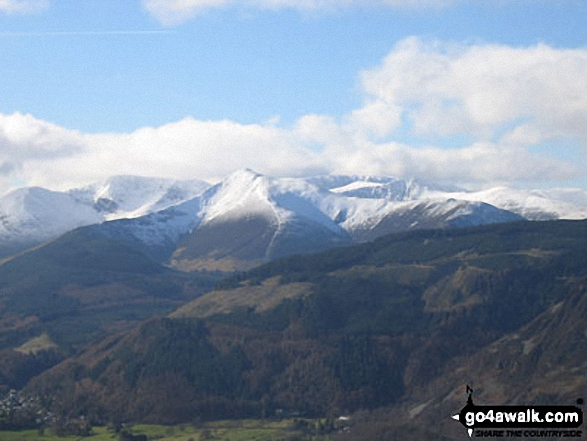 Crag Hill (left), Grisedale Pike (centre), Hopegill Head and Ladyside Pike from Longside Edge