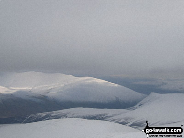 Sale How (foreground) Blencathra (centre) and Lonscale Fell (right) from Skiddaw. Walk route map c236 Skiddaw from Millbeck, nr Keswick photo