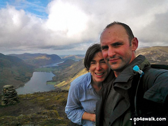 Debra and Tony on the summit of Fleetwith Pike with Buttermere and Crummock Water in the background