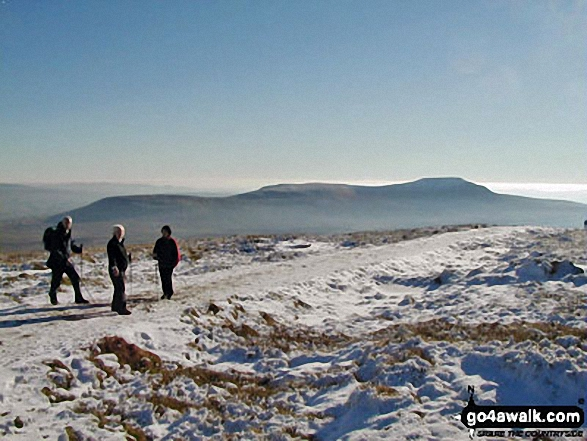 Park Fell (left), Simon Fell and Ingleborough (right) from the summit of Whernside while doing the Yorkshire Three Peaks Challenge Walk in the snow