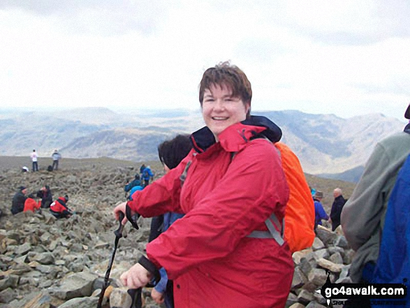 Tracey Parnell at the top of Scafell Pike in May 2012. Walk route map c271 The Scafell Massif from Wasdale Head, Wast Water photo