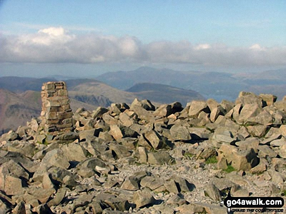 The summit of Scafell Pike. Walk route map c370 Scafell Pike from Seathwaite photo