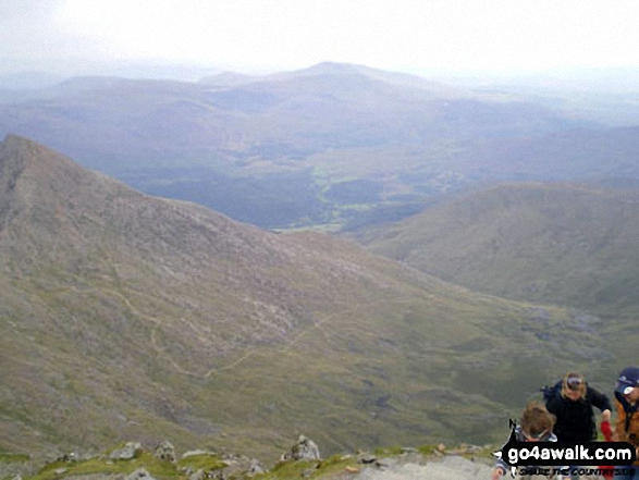 The Watkin Path, Nantgwynant and Cnicht on the horizon from the summit of Snowdon (Yr Wyddfa). Walk route map gw198 The Welsh 3000's (Snowdon Area) from Pen y Pass photo